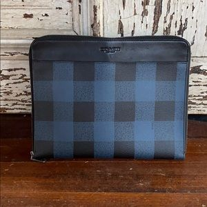Coach Black & Blue Plaid Zip Case